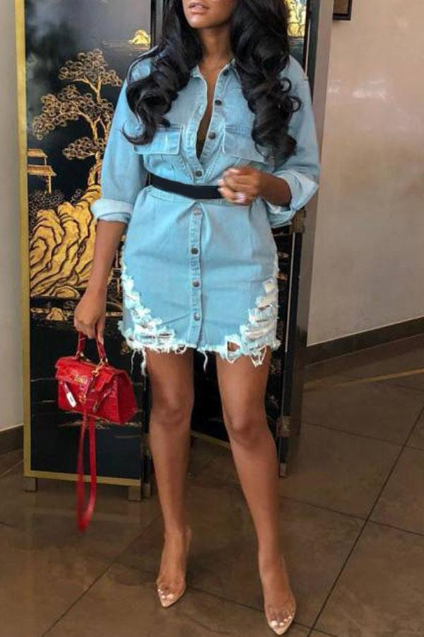 Holes Long-Sleeve Jean Shirt Dress