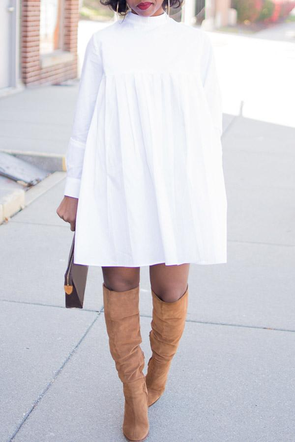 Solid Color Long-Sleeve Pleated Dress