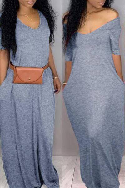 Loose Fit Scoop Neck Pocket Maxi Dress