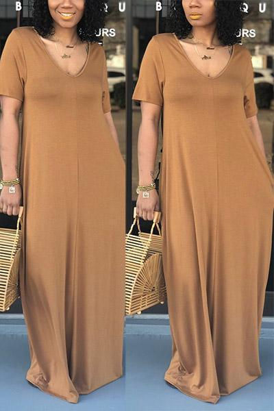 Casual Pure Color V-neck Maxi Dresses