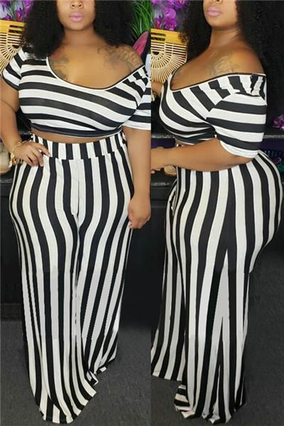 Casual Stripe Short Sleeve Two-piece Set