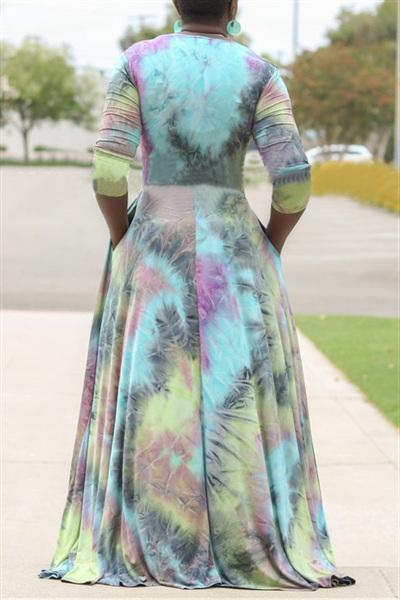 Deep V-neck Tie Dye Floor Dress