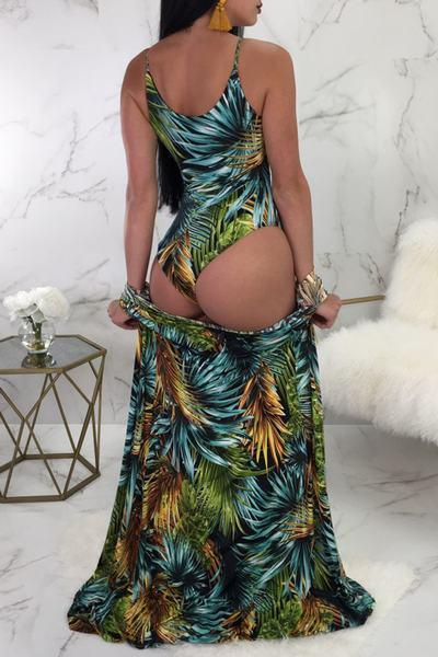 Tropical Lace Up Front One Piece Swimsuit & Cover Up Beachwear Robe