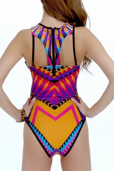Yellow Purple High Neck Geometric Print Cut Out Swimsuit Monokini