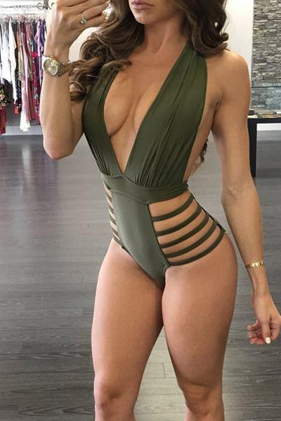 Deep V Plunging Neckline Cut Out One Piece Backless Swimsuit Monokini