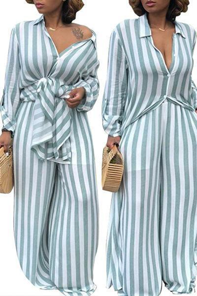 Long Sleeve Shirt & Loose Fit Pants Striped Set