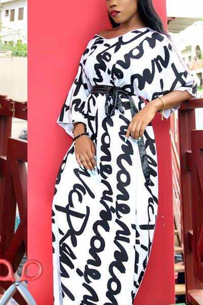 Letter Printed V-neck Maxi Dress