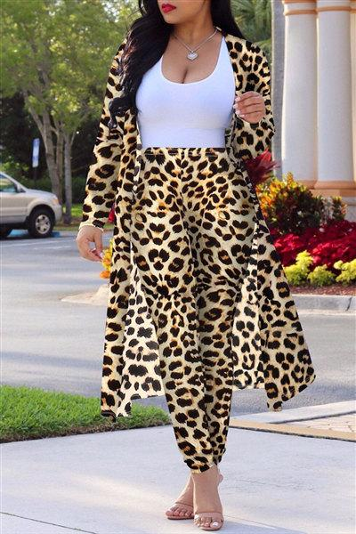 Long Sleeve Leopard Two Pieces Set