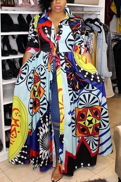 Long Sleeve Pocket Printed Maxi Dress(With Belt)