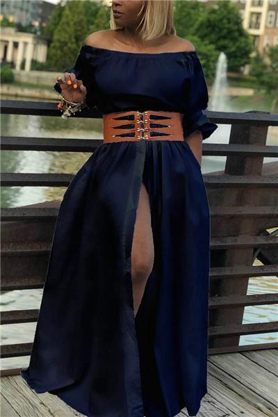 Off The Shoulder Button Dress(without belt)