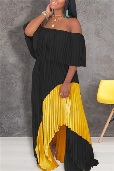 Casual Slash Neck Patchwork Maxi Dress