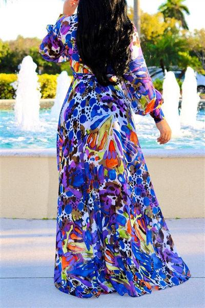 V-neck Floral Printed Floor Dress