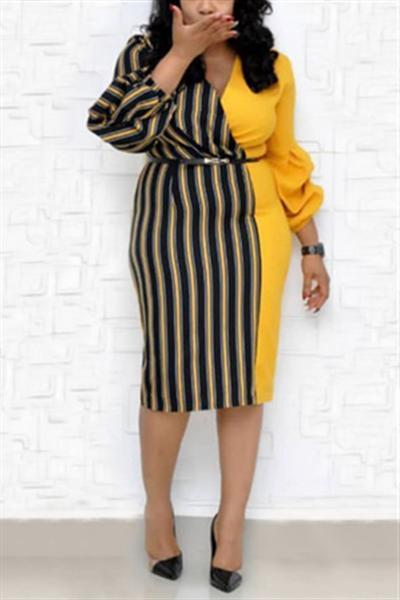 V-neck Patchwork Striped Midi Dress