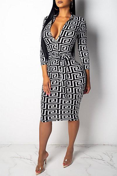 Zipper Front Geo Dress