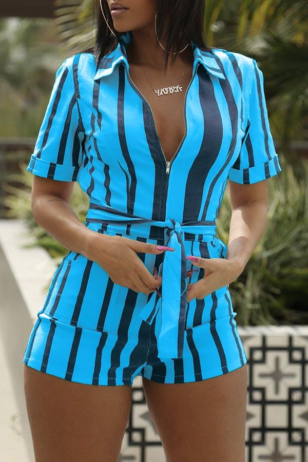 Striped Zipper Playsuit