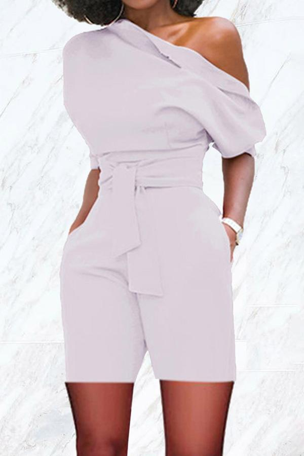 Sexy Cool Shoulder Belt Rompers