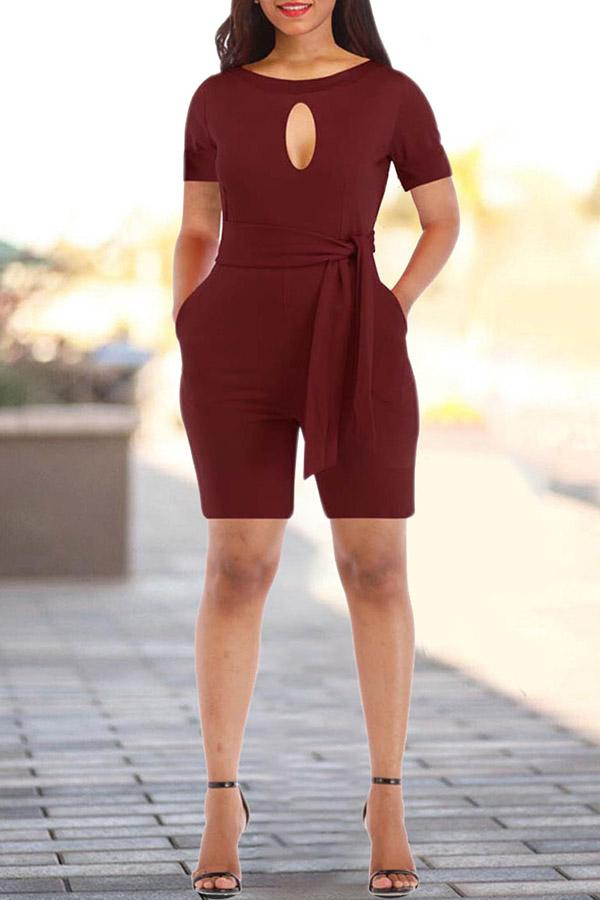 Classic  Hollowing Out Pure Round-necked Dress