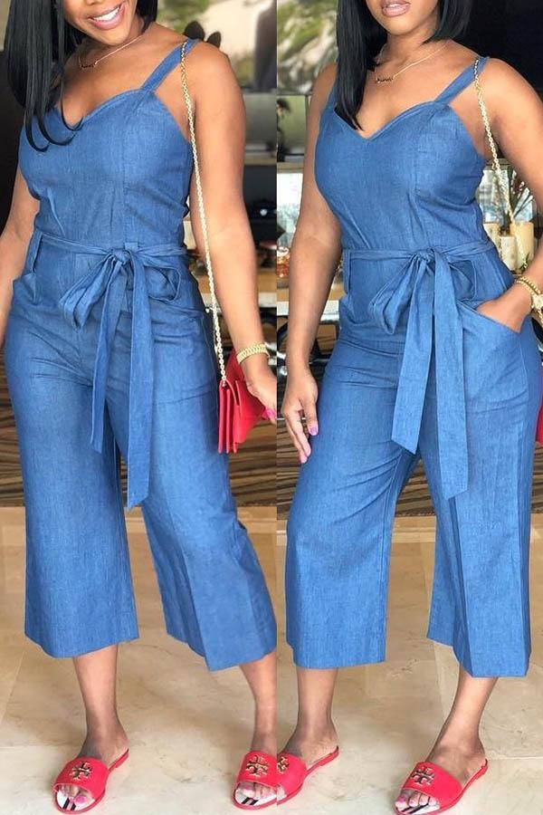 Suspended Lace-Up Broad-Legged Jean Jumpsuit