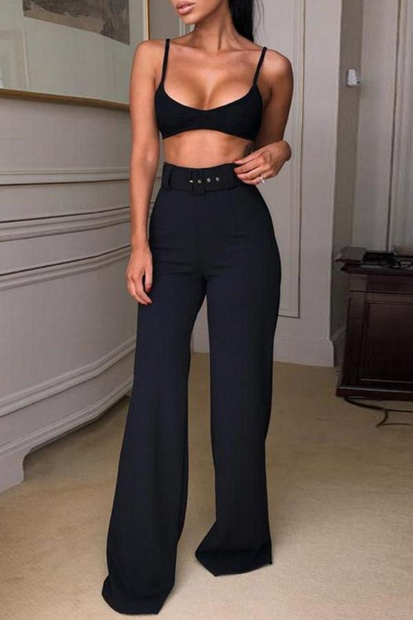 Hip-Wrapping Broad-Legged Trousers(With Belt)