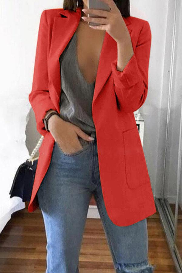 Solid Color Lapel Slim Coat