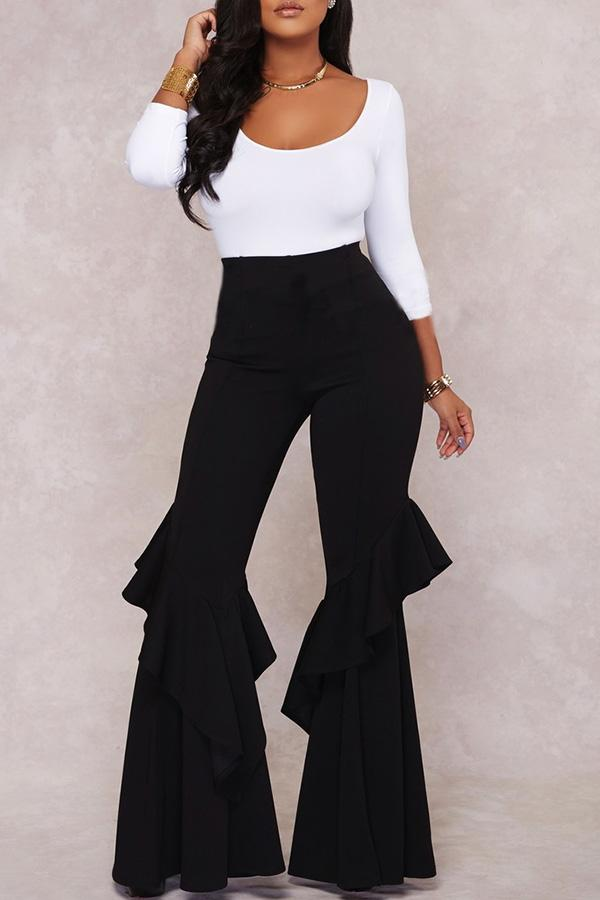 Solid Color Lotus Leaf Edge Flared Trousers