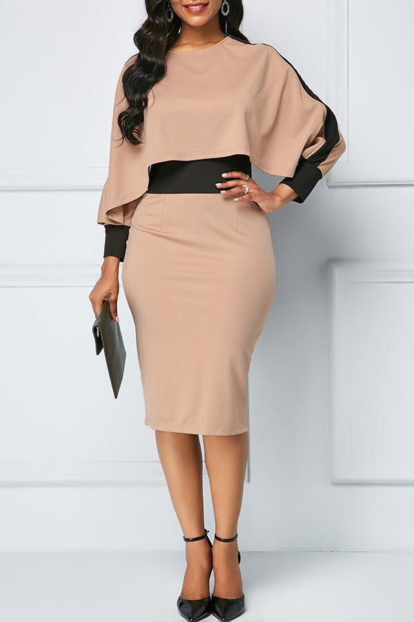 Color Collision Slim Hip-Wrapping Dress