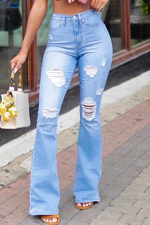 Solid Color Hole Flared Jeans