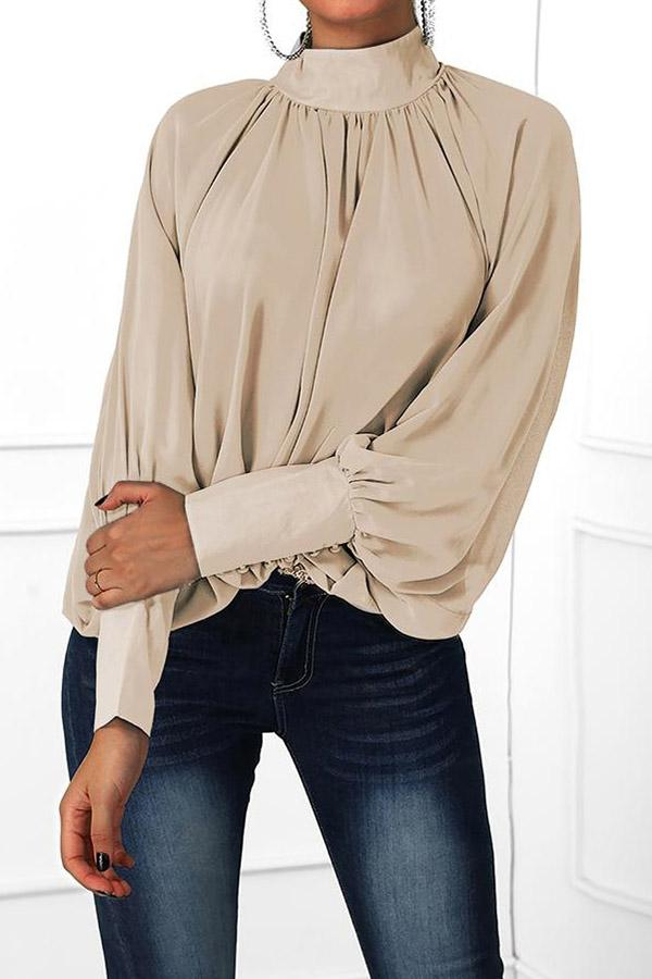 Solid Color Mandarin Collar Pleated Top