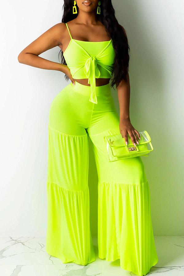 Solid Color Strappy Vest Wide-Legged Trousers Set
