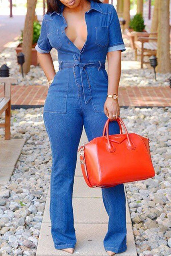 Lace-Up Jeans Slim Jumpsuit