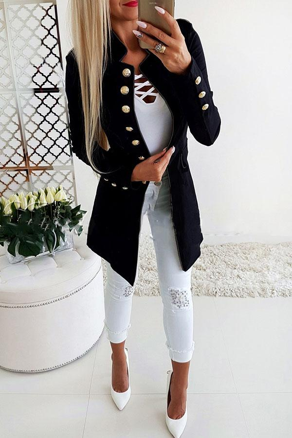 Solid Color Long-Sleeve Buttoned Slim Top
