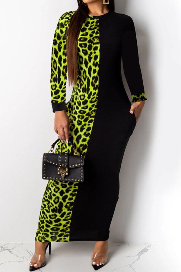 Leopard Print Splicing Long-Sleeve Dress
