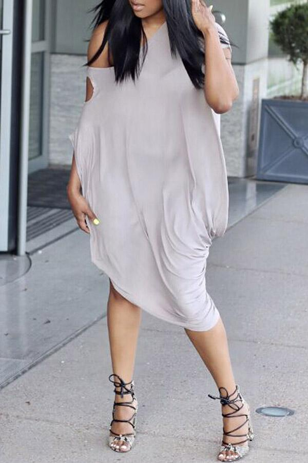 One Shoulders Irregular Solid Color Dress