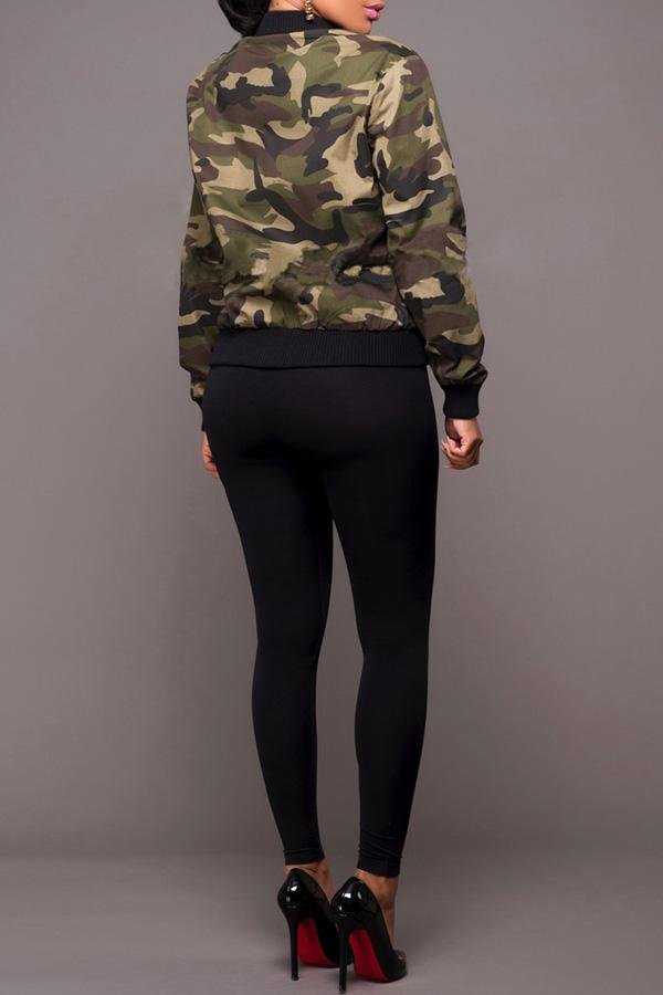 Long-Sleeved Camouflage Flight Jacket