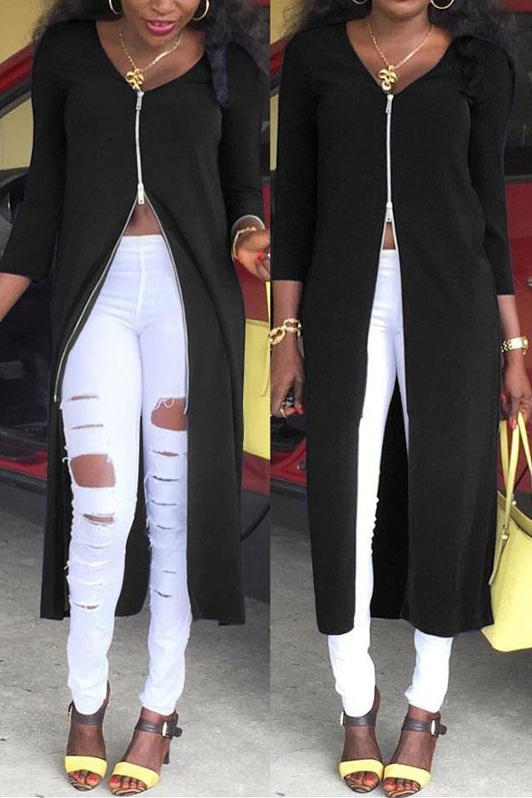 Solid Colour Long Zipper Coat