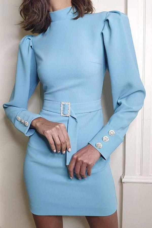 Puff Sleeved High-Collar Solid-Color Dress (With Belt)