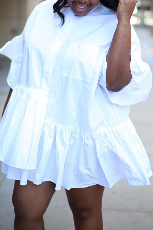 Spliced Pleated Shirt Dress