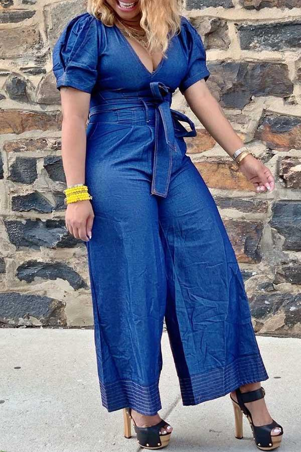 V-Neck Wide Legg Jeans Jumpsuit (With Belt)