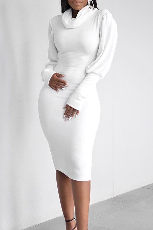 Lantern Sleeve High Collar Slim Dress