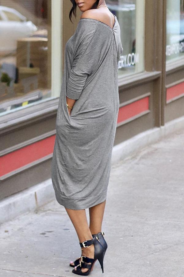Solid Colour Loose Dress