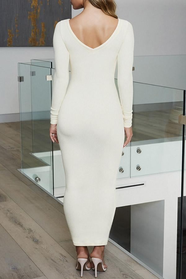 Solid Color V-Collar Long Sleeve Dress