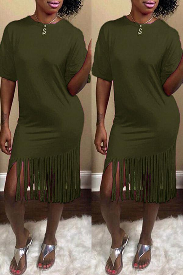 Solid Color Round Collar Fringed Dress