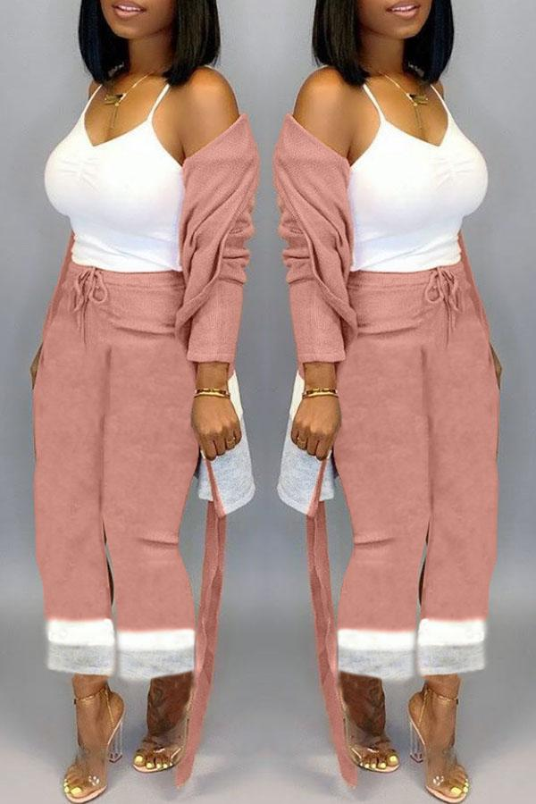 Color Collision Long-Sleeve Cardigan Trousers Suit
