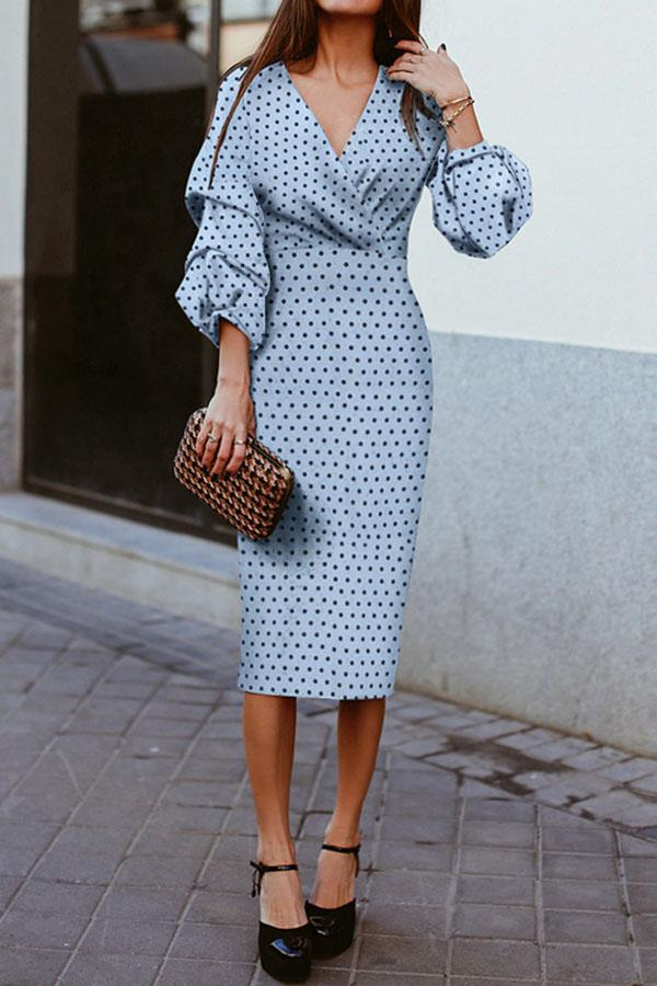 V-Neck Lantern Sleeve Dress