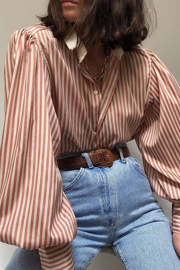 Striped Lantern Sleeve Loose Shirt