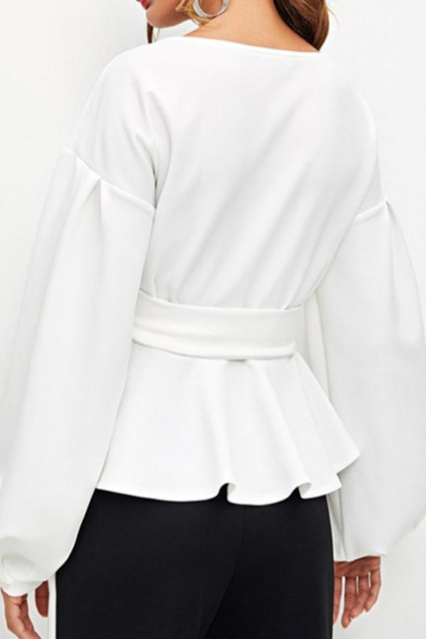 Open-Shouldered Lantern Sleeve Top