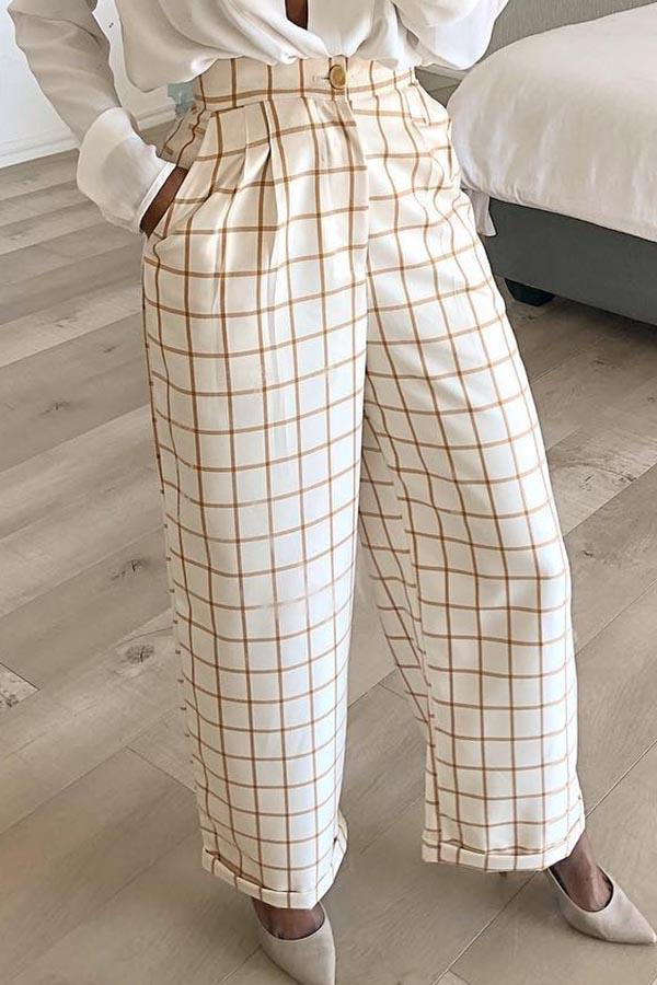 Chequered Print Long Trousers
