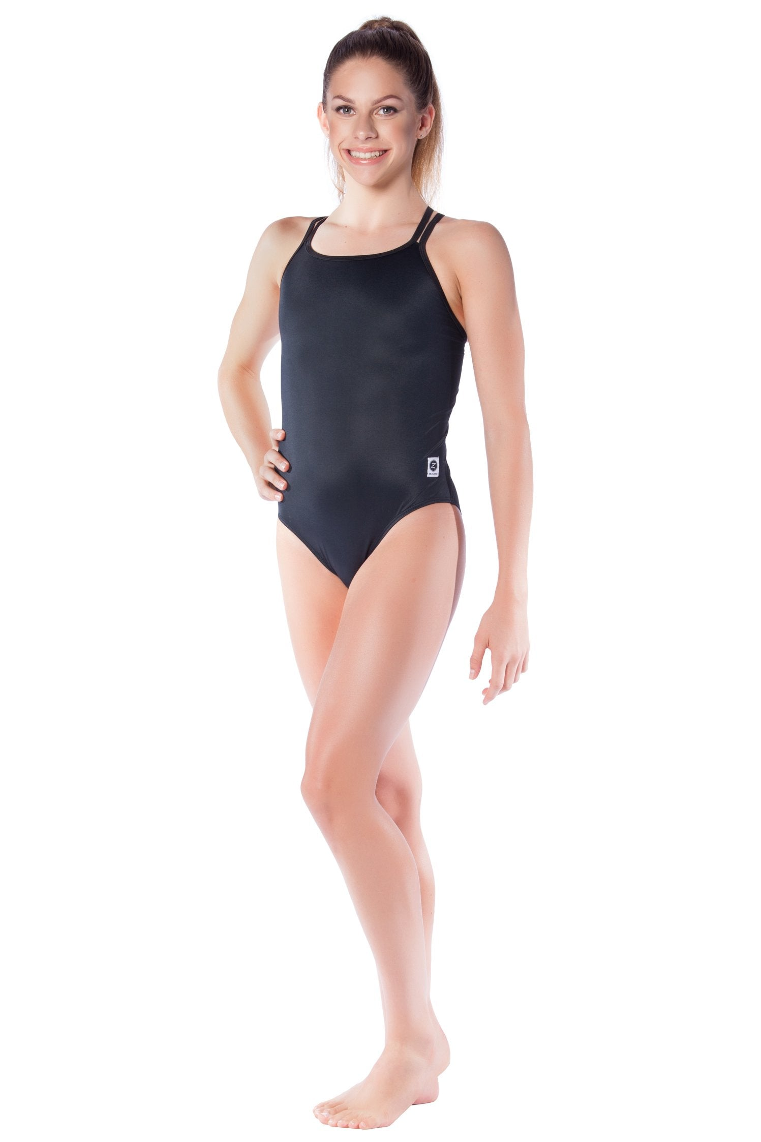 Pitch Black Girls Cross Back - Shop Zealous Training Swimwear