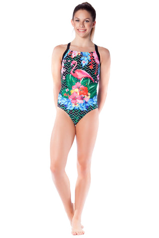 Flamingo Frenzy Girls Racers - Shop Zealous Training Swimwear