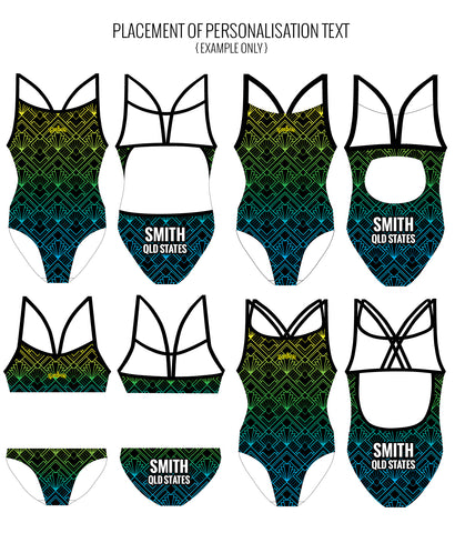GREEN GATSBY - FEMALE Personalised Swimwear - Shop Zealous Training Swimwear